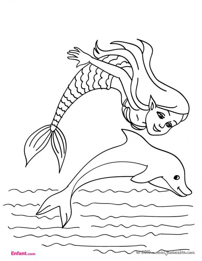 Coloriage et dessins gratuits Fille Sirène à imprimer