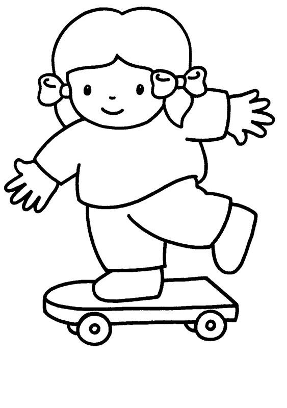 Coloriage et dessins gratuits Fille skateuse  facile à imprimer