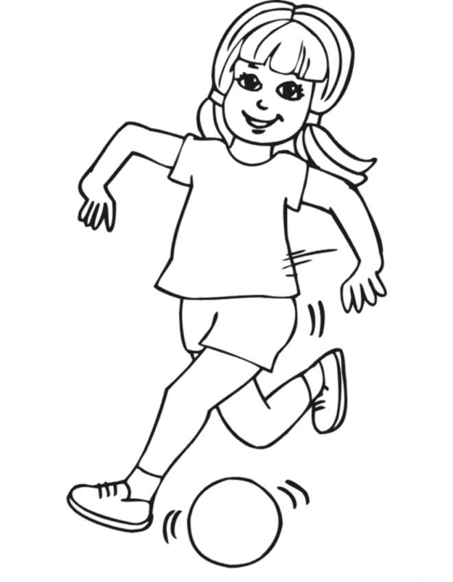 Coloriage et dessins gratuits Fille tire le Ballon à imprimer
