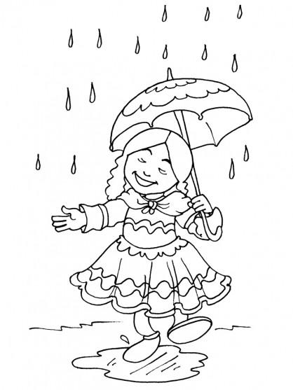 Coloriage et dessins gratuits La Fille s'amuse sous la pluie à imprimer