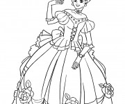 Coloriage Princesse porte Une Robe adorable