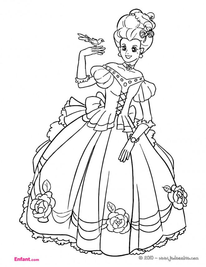 Coloriage Princesse Porte Une Robe Adorable Dessin Gratuit A Imprimer