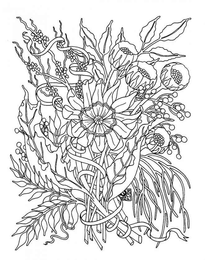 Coloriage fleurs adultes dessin gratuit imprimer - Coloriage a imprimer fleurs exotiques ...