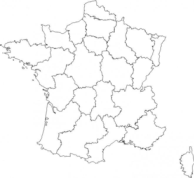 Coloriage et dessins gratuits Carte de France à découper à imprimer