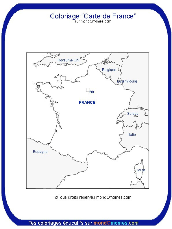 Coloriage En Ligne Carte Europe.Coloriage Carte De France En Europe Dessin Gratuit A Imprimer