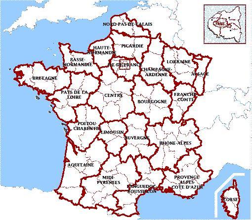 Coloriage et dessins gratuits Carte de France et les provinces à imprimer