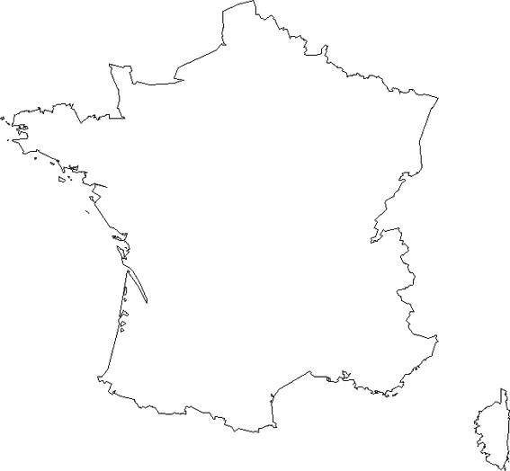 Coloriage et dessins gratuits France Carte simple à imprimer