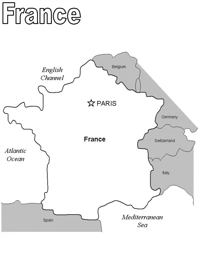 Coloriage et dessins gratuits France et ses frontières avec les autres pays à imprimer