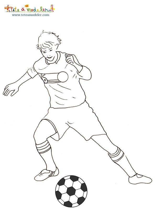 Coloriage et dessins gratuits Joueur qui contrôle le Ballon à imprimer