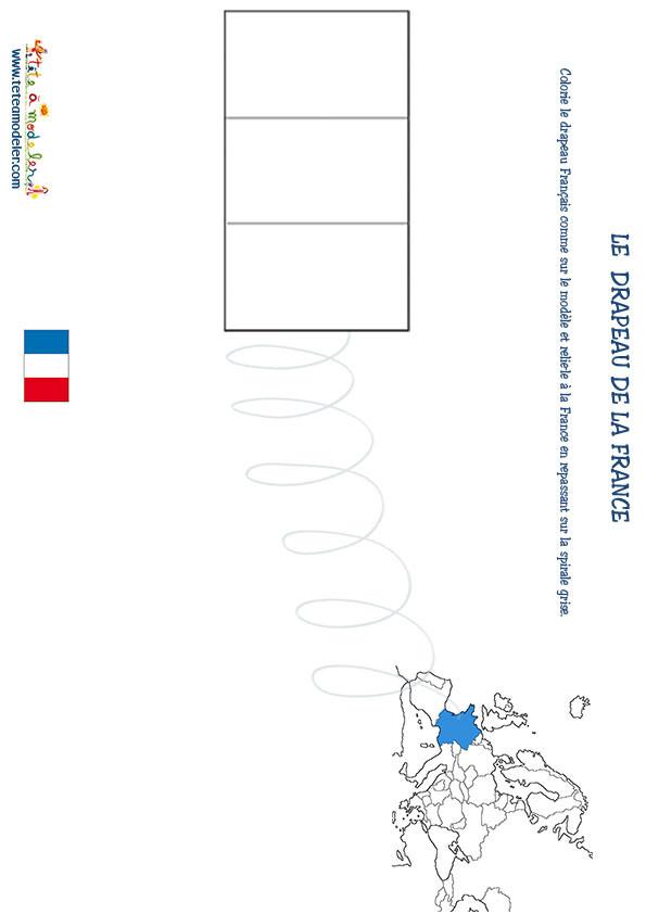Coloriage et dessins gratuits Le Drapeau de La France à découper à imprimer