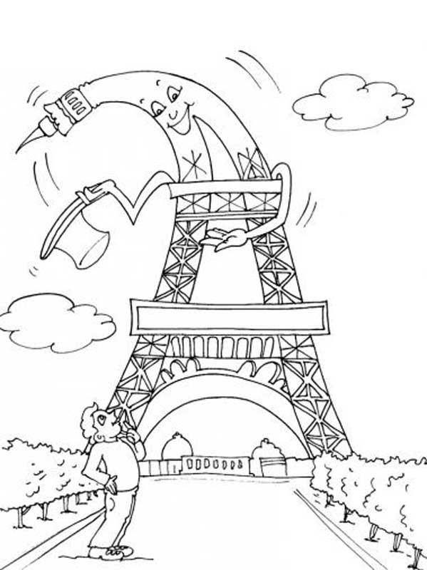Coloriage A Imprimer Tour Eiffel.Coloriage Tour Eiffel Humoristique Dessin Gratuit A Imprimer