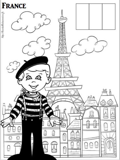 Coloriage et dessins gratuits Un Garçon parisien en France à imprimer