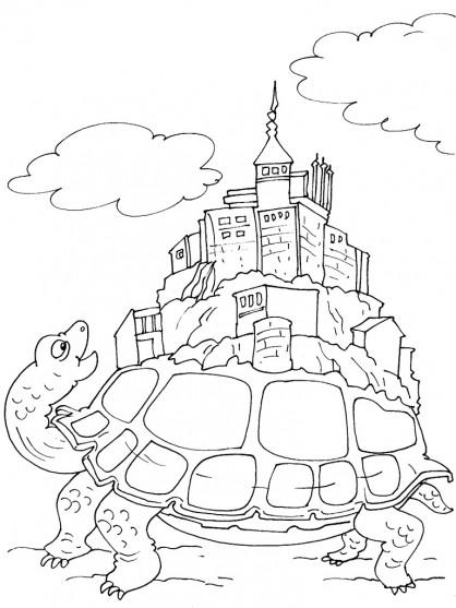 Coloriage et dessins gratuits Ville sur Tortue magique à imprimer