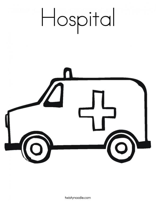Coloriage et dessins gratuits Ambulance de L'Hôpital à imprimer