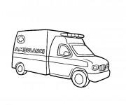 Coloriage et dessins gratuit Ambulance en couleur à imprimer