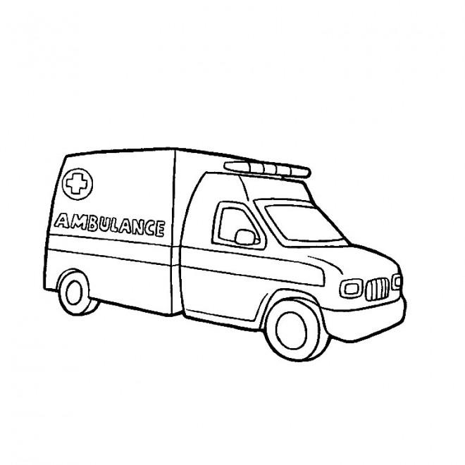 Coloriage et dessins gratuits Ambulance en couleur à imprimer