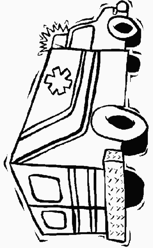 Coloriage et dessins gratuits Ambulance en noir et blanc à imprimer
