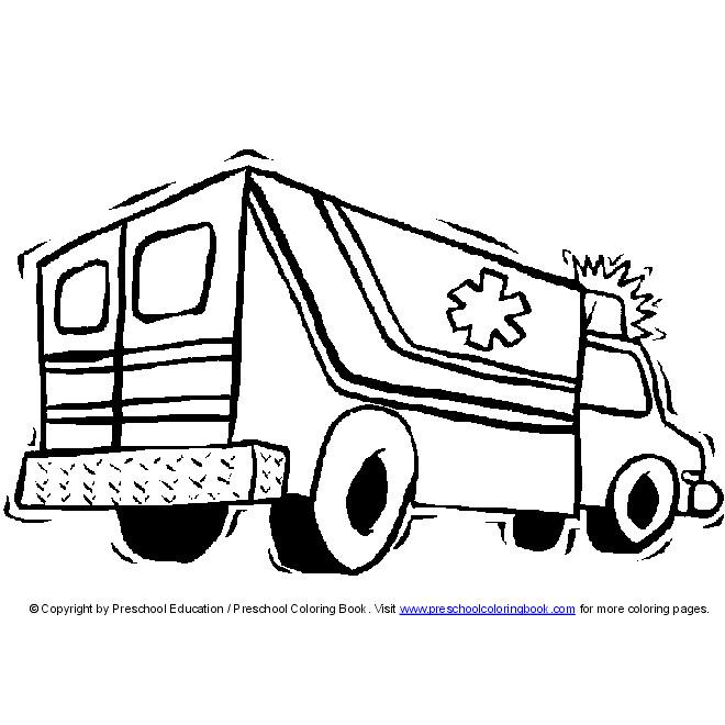Coloriage et dessins gratuits Ambulance maternelle à imprimer