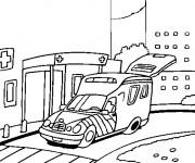 Coloriage Ambulance portant un Patient