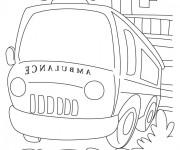 Coloriage Ambulance pour cas d'urgence