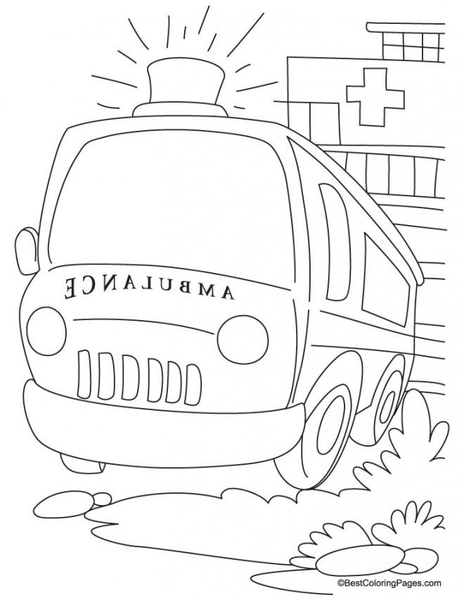 Coloriage et dessins gratuits Ambulance pour cas d'urgence à imprimer