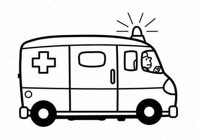 Coloriage et dessins gratuits Ambulance qui sonne à imprimer
