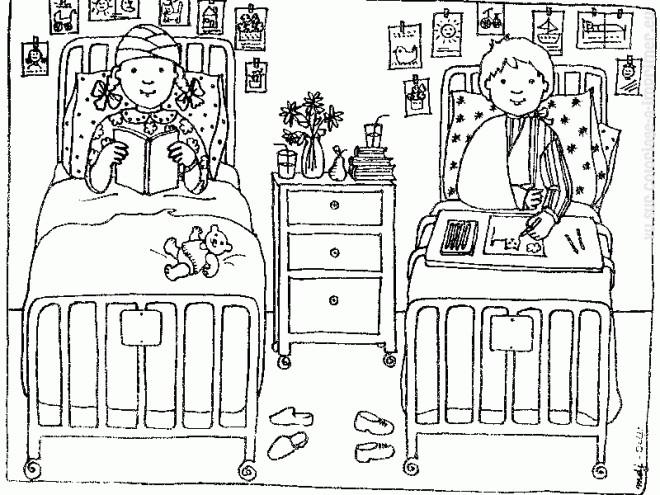 Coloriage et dessins gratuits Chambre de Malade commune à imprimer
