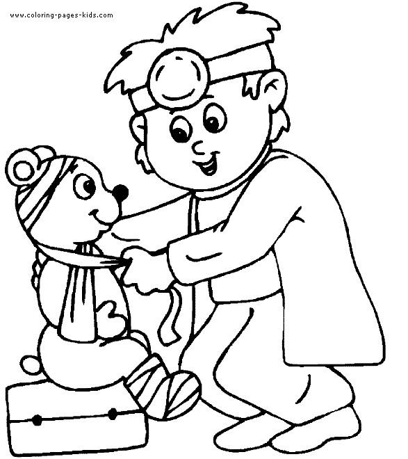 Coloriage et dessins gratuits Docteur et l'ours à imprimer