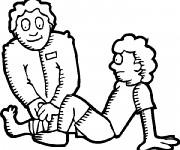 Coloriage Docteur et Patient vecteur