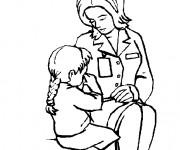 Coloriage Docteur qui soigne la petite Fille