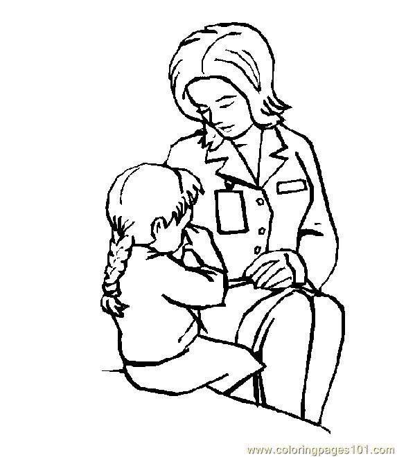 Coloriage Docteur qui soigne la petite Fille dessin gratuit à imprimer