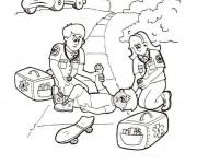 Coloriage Docteurs et Accidenté