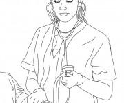 Coloriage Femme Docteur en blanc