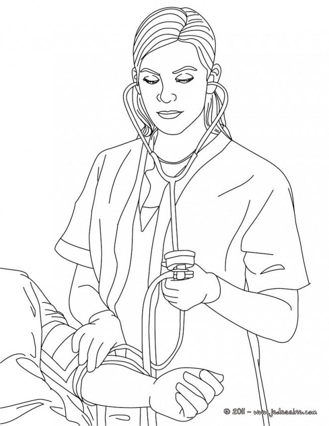 Coloriage et dessins gratuits Femme Docteur en blanc à imprimer