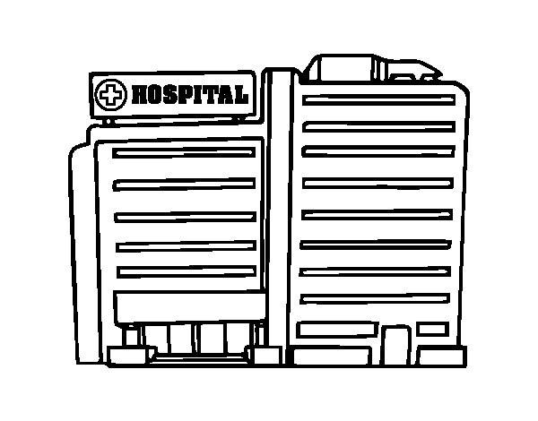 Coloriage et dessins gratuits Hôpital Bâtiment à imprimer