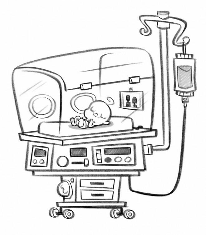 Coloriage et dessins gratuits Hôpital Bébé nouveau-né à imprimer