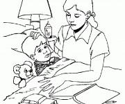 Coloriage Hôpital L'infirmière surveille le Garçon malade
