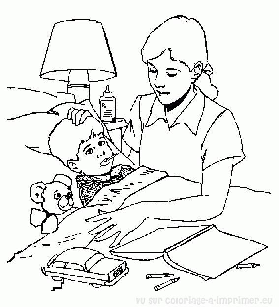 Coloriage et dessins gratuits Hôpital L'infirmière surveille le Garçon malade à imprimer