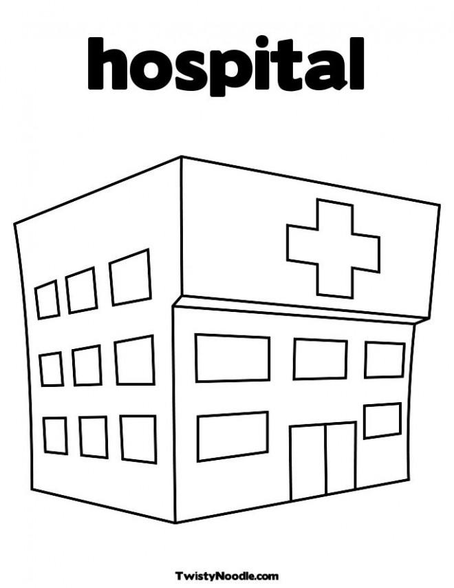 Coloriage et dessins gratuits Hôpital stylisé à imprimer