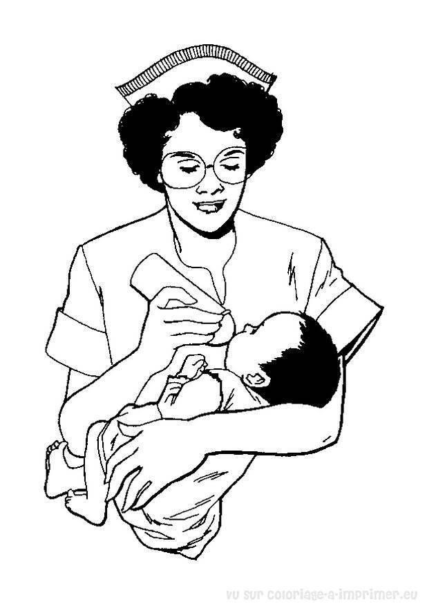 Coloriage et dessins gratuits infirmière et bébé à imprimer