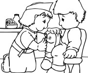 Coloriage Infirmière et le Petit enfant