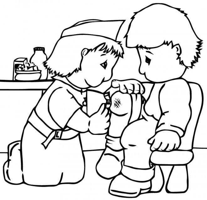 Coloriage et dessins gratuits Infirmière et le Petit enfant à imprimer