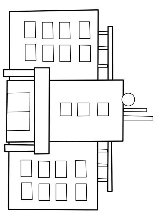 Coloriage et dessins gratuits L'Hôpital La façade à imprimer
