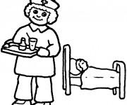 Coloriage L'infirmière apporte le médicaments