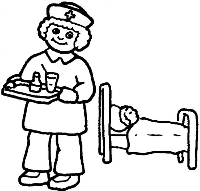 Coloriage et dessins gratuits L'infirmière apporte le médicaments à imprimer