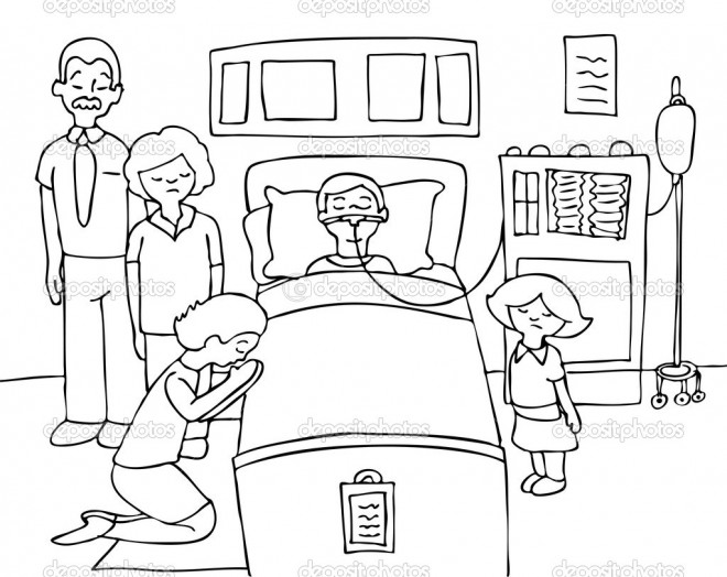 Coloriage et dessins gratuits La Famille visitent le Malade à L'Hôpital à imprimer