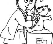 Coloriage et dessins gratuit La Petite Fille et Sa Peluche à imprimer