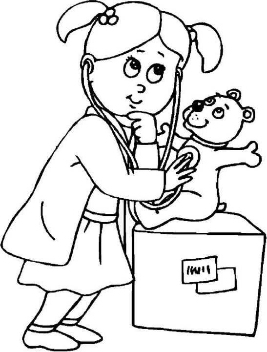 Coloriage et dessins gratuits La Petite Fille et Sa Peluche à imprimer