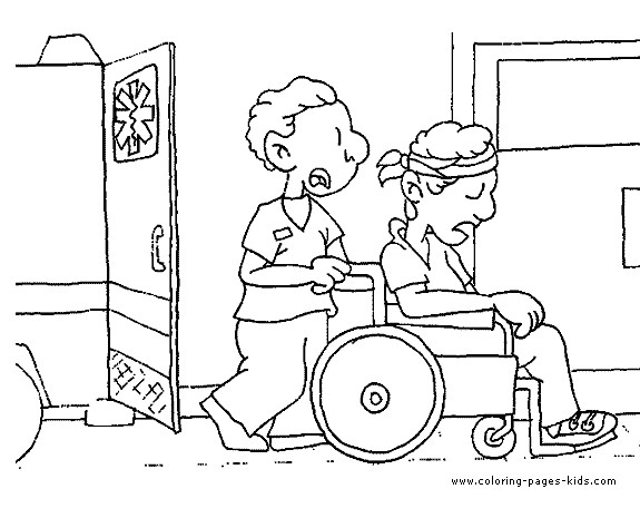 Coloriage et dessins gratuits Le blessé entre à L'Hôpital à imprimer