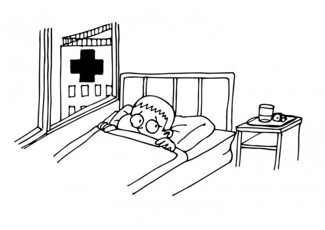 Coloriage et dessins gratuits Le Garçon a peur de L'hôpital à imprimer
